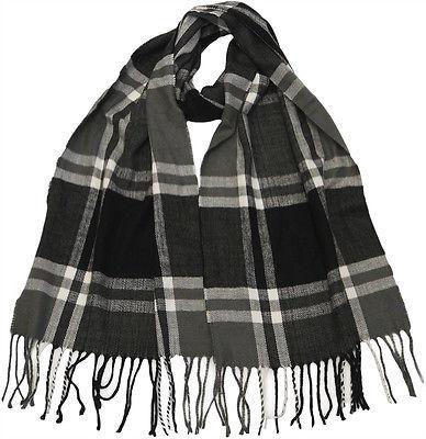 Winter Fall Cold Weather Irish Plaid Long Cashmere Feel Scarf KW102 BLACK GREY