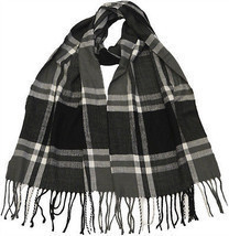 Winter Fall Cold Weather Irish Plaid Long Cashmere Feel Scarf KW102 BLAC... - $12.87