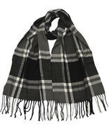 Winter Fall Cold Weather Irish Plaid Long Cashmere Feel Scarf KW102 BLAC... - $238,13 MXN