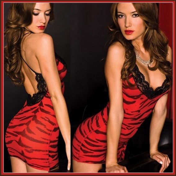 Wild Red Tiger Print Stretchy Chemise Crossed Spaghetti Straps Black Lace Edges