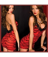 Wild Red Tiger Print Stretchy Chemise Crossed Spaghetti Straps Black Lac... - $38.95