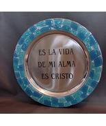 Engraved Silver Plate with Mosaic Tiles Es La Vida De Mi Alma ES Cristo ... - $7.99