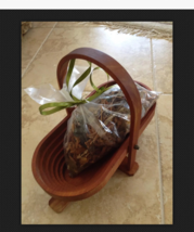 collapsible wooden basket with bag of potpourri - $49.99
