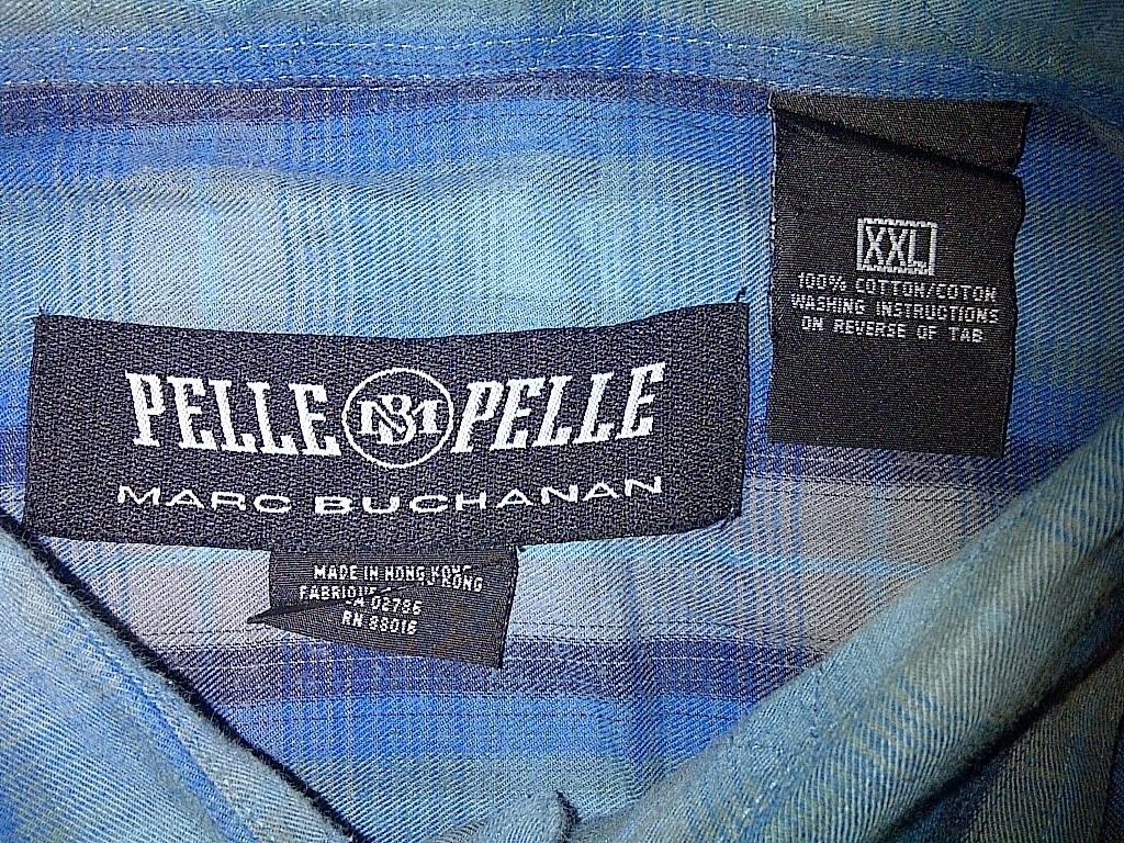 Pelle Marc Buchanan Blue Gray Grey Flannel Button Down Front Up Shirt 2xl XXL 2x