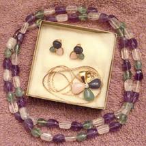 Avon Tourmaline Impressions Parure Pendant Necklace & Clip On Earrings ✿... - $49.45