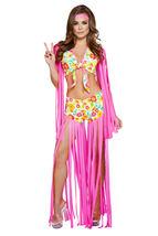 Sexy Roma Foxy Flower Child Hippie 60's Chick Halloween Costume S/M M/L ... - $71.00+