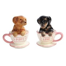 Pacific Trading Dachshund Puppies Tea Cup Puppy Love Salt and Pepper Sha... - $10.10