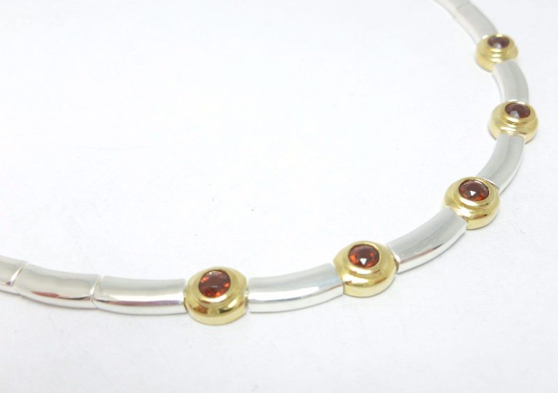 Primary image for  Garnet Station Two-tone Sterling Silver 15-1/2 inch Necklace