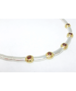 Garnet Station Two-tone Sterling Silver 15-1/2 inch Necklace  - $92.00