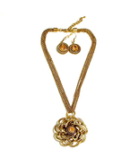 Goldtone Antique Finish Faux Citrine Flower Pendant Necklace Earrings Se... - $14.00