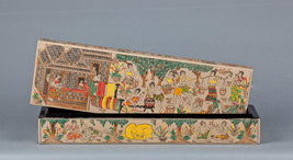 "Southeast Asia Burmese Lacquerware Box Depicting Village Life, 36cm (14""... - $65.44"
