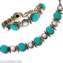 Vintage Sterling Silver Natural Turquoise and Fresh Water Pearl Bracelet... - $296.00