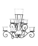 *15370B  Scrollwork Black Metal Candle Stand 8 Glass Cup & Flower Vase - $27.75