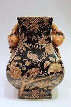 Beautiful Black Rectangular Porcelain Vase Bird Motif w Potting Hole - $89.09