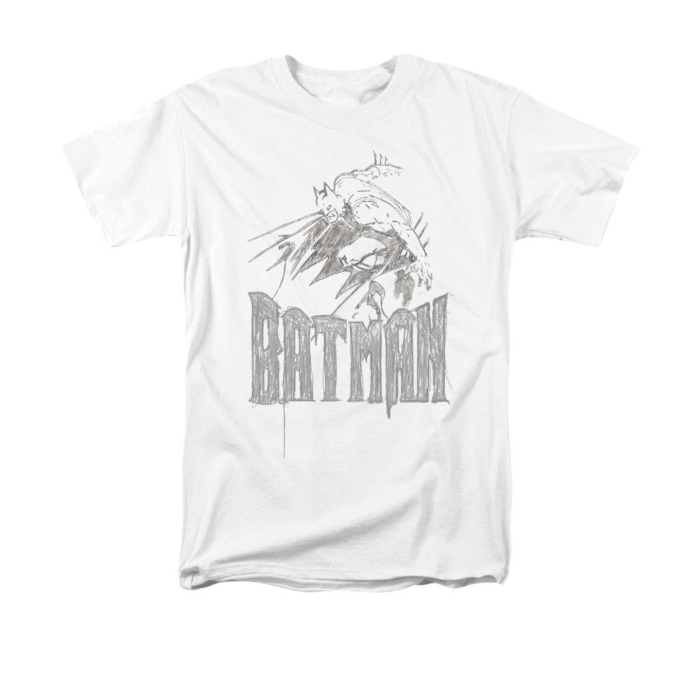 BATMAN/KNIGHT SKETCH  T-SHIRT - S/S ADULT 18/1 - WHITE