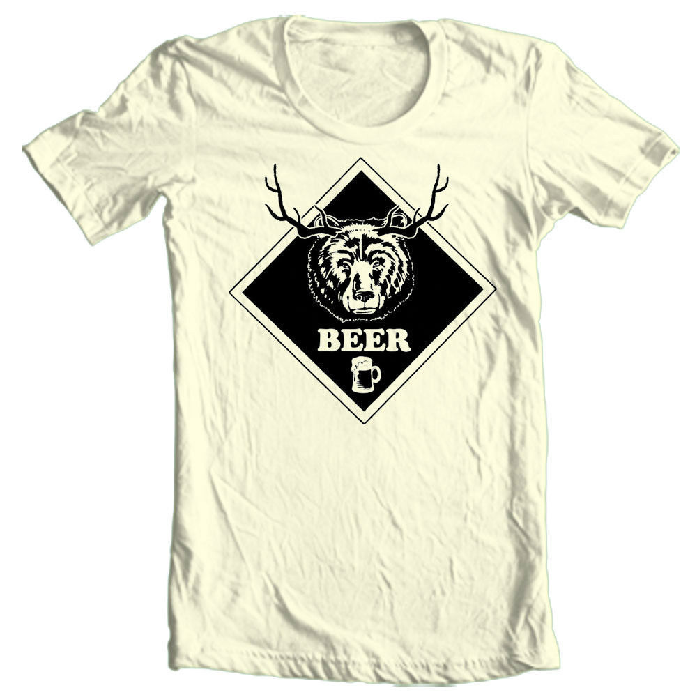 BEER T shirt Bear Deer funny hunting novelty 100% cotton graphic tee
