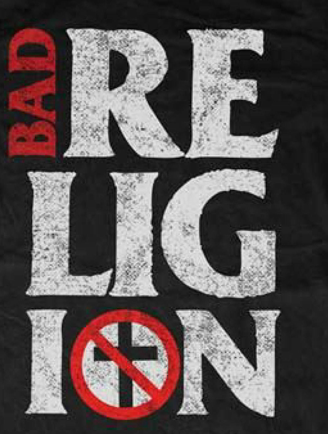 Bad Religion T-shirt Stacked distressed black cool punk retro 80's skate tee
