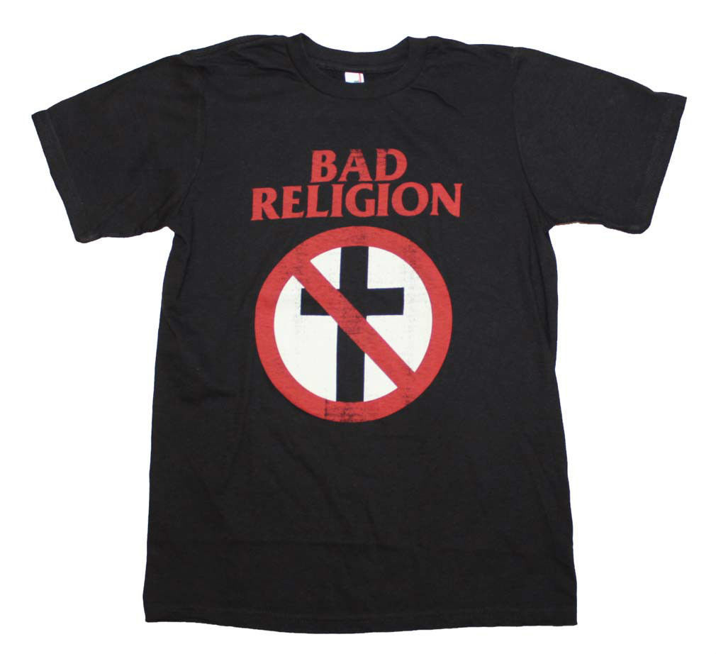 Bad Religion Distressed Crossbuster T-Shirt retro punk rock concert cotton tee