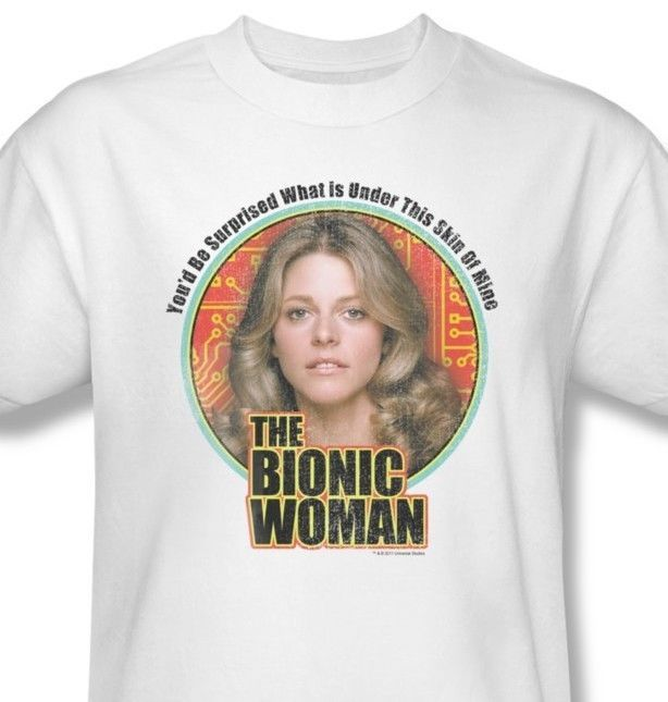 Bionic Woman T-shirt retro 70's 80s TV graphic tee Six Million Dollar Man NBC539