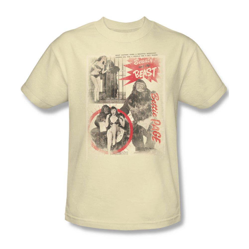 Betty Page T-shirt Beauty Beast Men's cotton tee retro rockabilly pin-up pag632