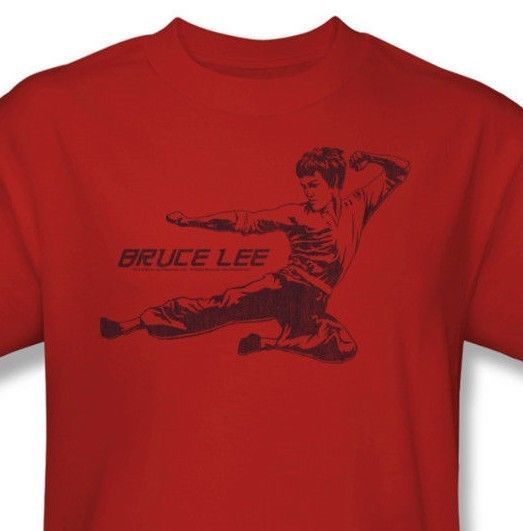 Bruce Lee T-shirt Flying Kick red retro The Dragon graphic cotton tee BLE113