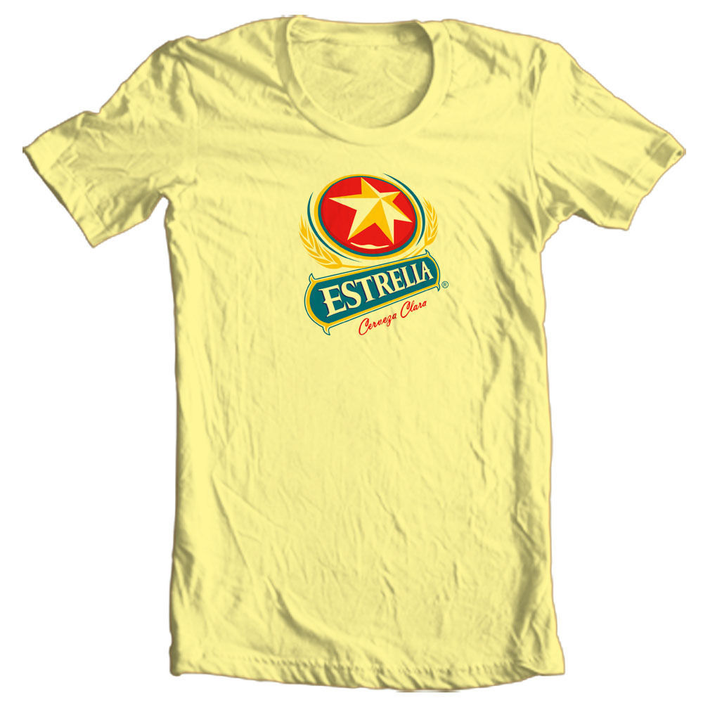 Estrella Cervesa T-shirt beer beach party Corona Guiness cotton graphic tee