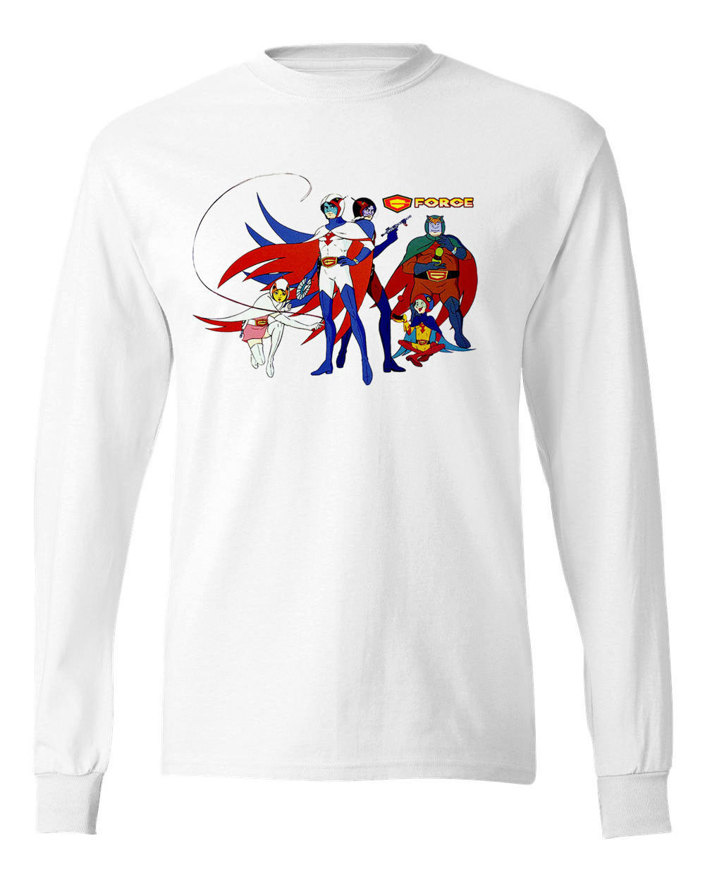 G-Force Battle of Planets T-shirt long sleeve retro cartoon 100% cotton tee