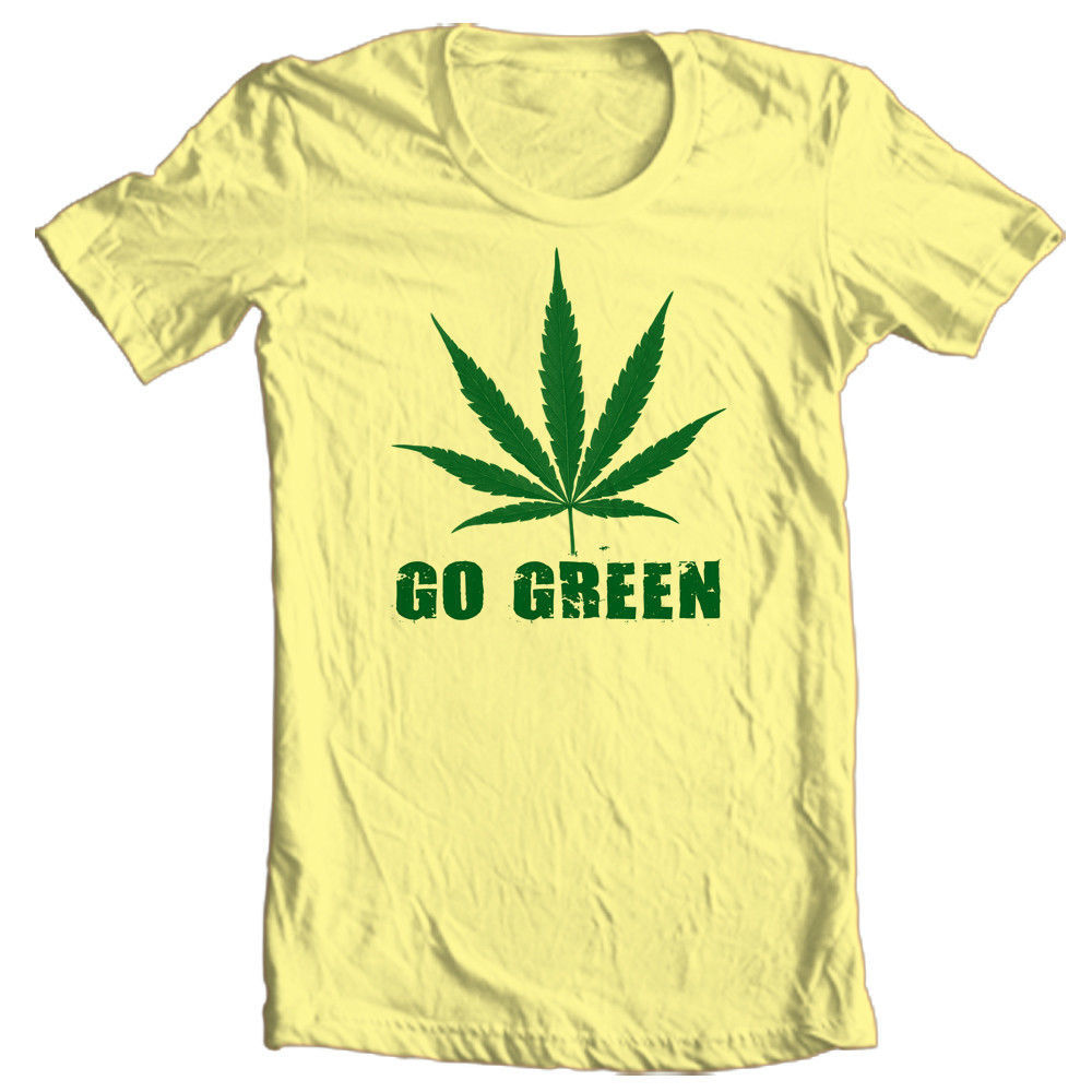 go green funny marijuana pot t shirt novelty woodstock. Black Bedroom Furniture Sets. Home Design Ideas