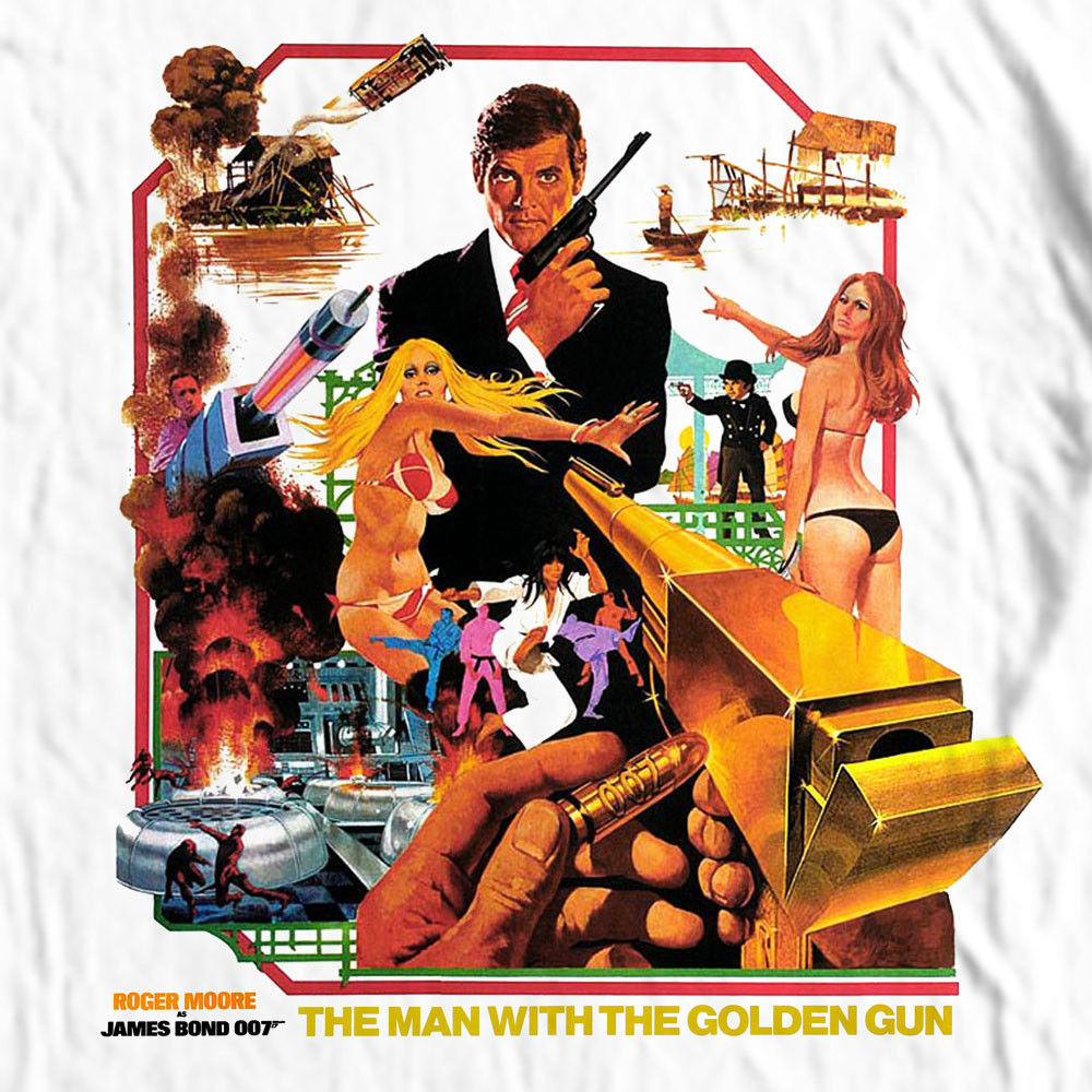 James Bond 007 The Man Golden Gun T-shirt retro 70's movie cotton graphic tee