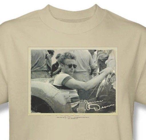 James Dean T shirt Porsche Pic beige retro vintage graphic cotton tee DEA459