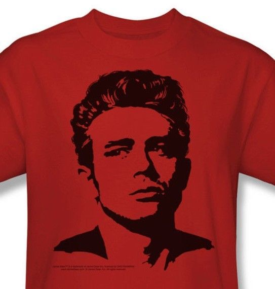 James Dean T-shirt Silhouette vintage celebrity red graphic cotton tee DEA316B