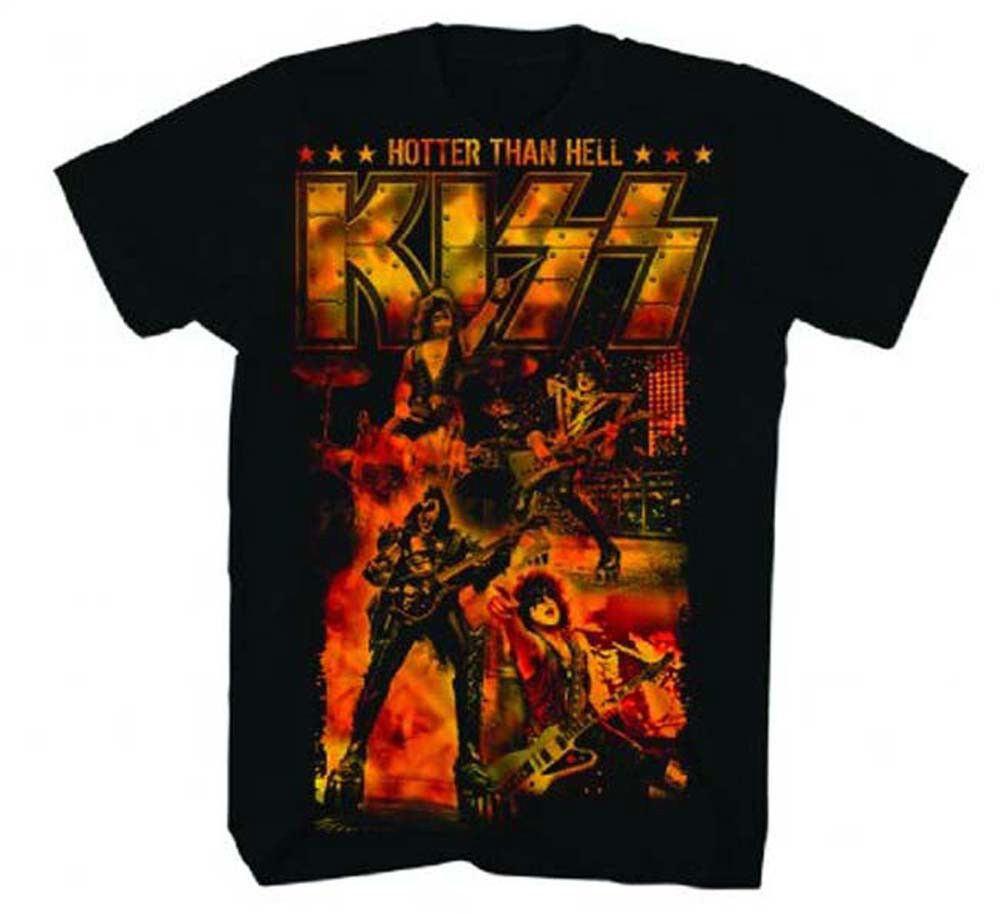 KISS ALIVE Hotter Than Hell T shirt Hard Rock Heavy Metal rock black cotton tee