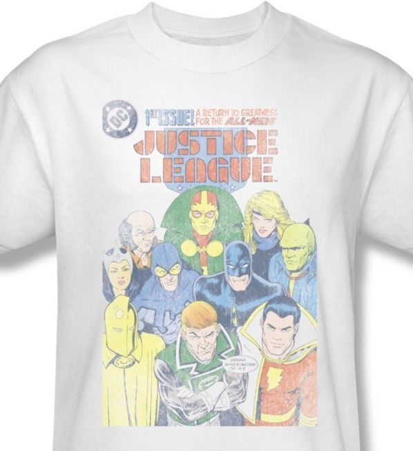 Justice League JLA T shirt white cotton graphic tee superhero DC comics JLA209