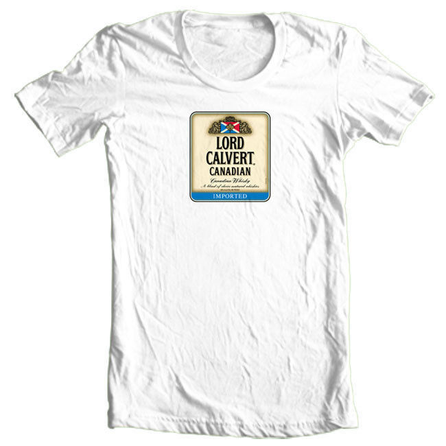 Lord Calvert T-shirt Canadian Whisky beer yellow white 100% graphic tee