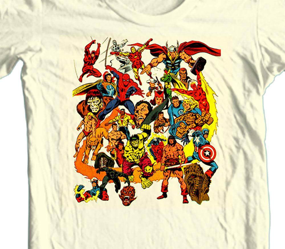 Marvel Comics T-shirt 1970s Dr. Strange vintage comic book superheroes Beige Tee