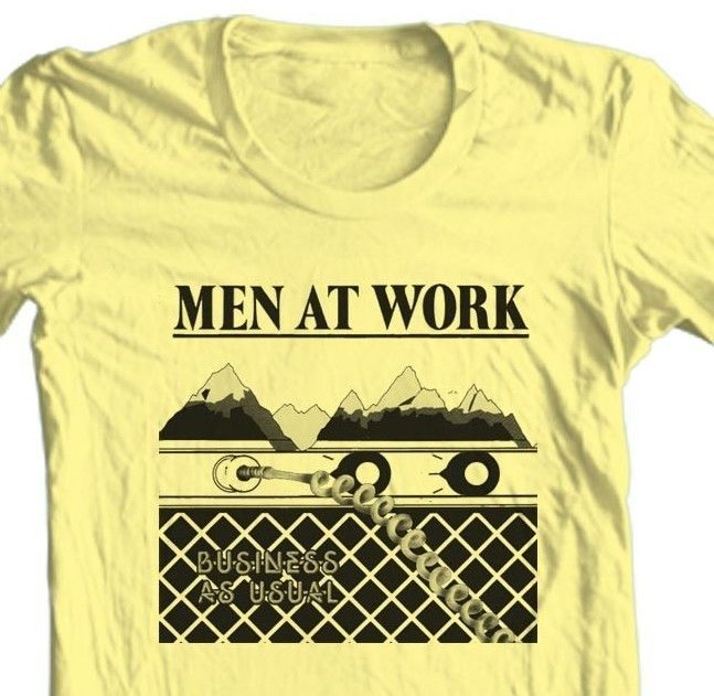 Men At Work T-shirt Business as Usual retro 80's new wave MTV graphic tee