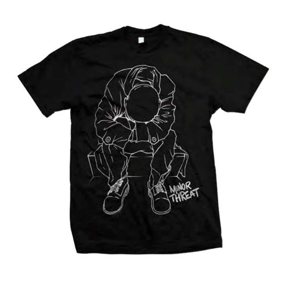 Minor Threat Outline T-Shirt Retro Hardcore Punk Rock Straight Edge