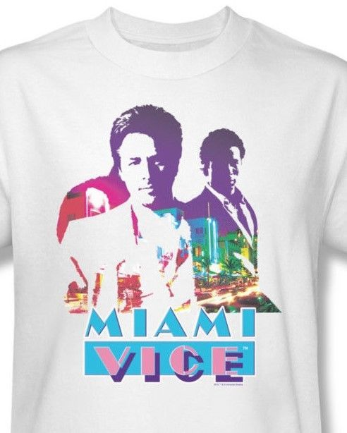 Miami Vice Crockett Tubbs T-shirt 80's retro vintage printed cotton tee NBC119