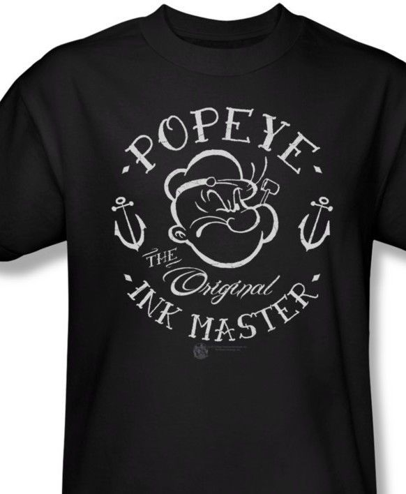 Popeye T shirt Ink comic cartoon tee Sailor Jerry Pin Up rockabilly punk pye710