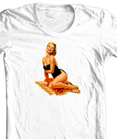 Pin-Up Girl T shirt blonde beach cool retro vintage punk rock rockabilly tee
