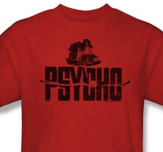Psycho House T-shirt Alfred Hitchcock retro movie red graphic cotton tee UNI201