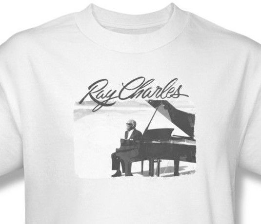 Ray Charles T-shirt Piano classic retro music vintage graphic cotton tee RC108
