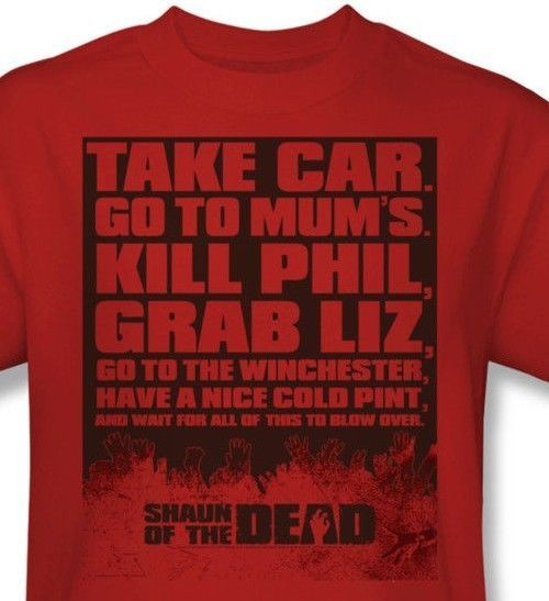 Shaun of Dead T-shirt funny zombie film red cotton graphic tee movie UNI314
