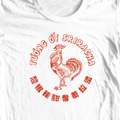 Sriracha Hot Sauce T-shirt 100% cotton short sleeve graphic printed white tee