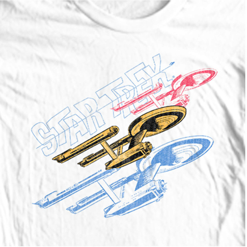 Star Trek Enterprise T-shirt Original Crew 70's TV series 100% cotton tee