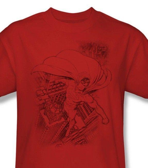 Superman T-shirt Metropolis red cotton Man Steel  tee comic superhero DC  SM1838