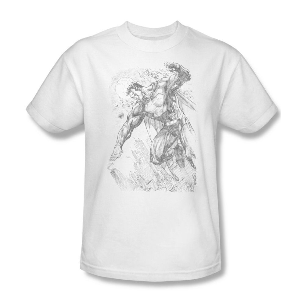 Superman Pencil Art T-shirt DC comic superhero graphic cotton tee SM1816