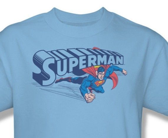 Superman T shirt Flying Logo blue cotton graphic tee comic book hero DC SM1044