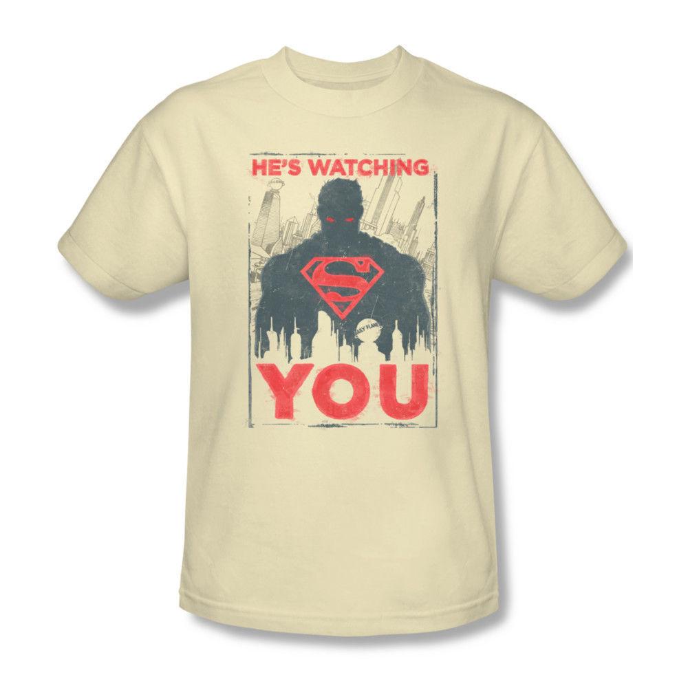 Superman Is Watching You T-shirt DC comic superhero graphic cotton tee SM1944