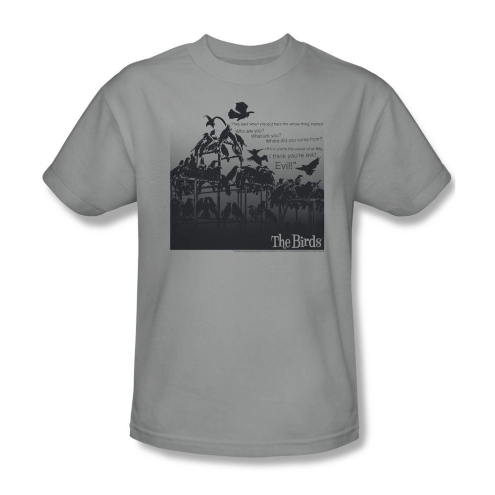 The Birds T-shirt retro vintage horror movie 100% cotton gray graphic tee UNI232
